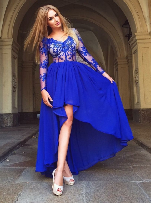 Elegant Royal Blue A-Line Homecoming Dresses | Scoop Long Sleeves Lace High Low Cocktai Dresses