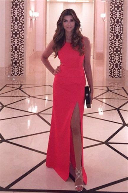 Cheap Sheath Prom Dresses Side Slit Floor Length Party Dresses