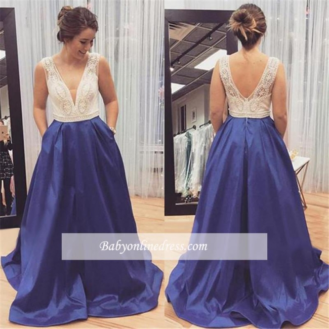 Sleeveless Beadings Zipper Long V-Neck Gorgeous Prom Dress