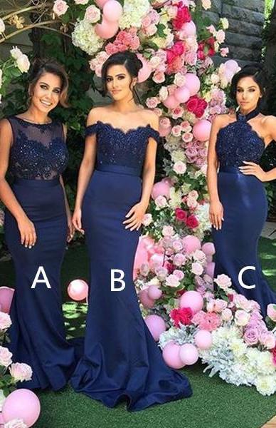 Elegant Mermaid Bridesmaid Dresses 3 Style Appliques Satin Long Prom Dresses