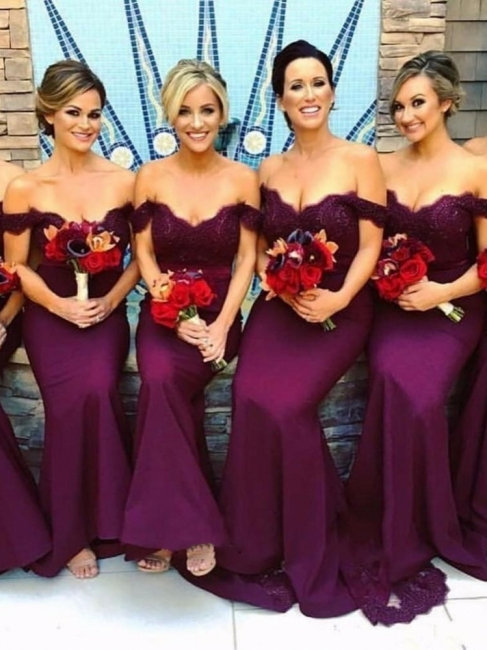Off-The-Shoulder Mermaid Bridesmaid Dresses | Elegant Lace Appliques Maid Of Honor Dresses