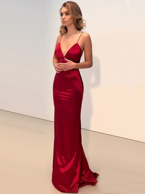 Sexy Spaghetti Straps Mermaid Prom Dresses | Shiny Open Back Evening Dresses