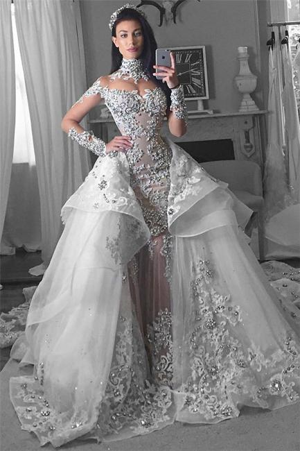 Luxury High Neck Long Sleeves Appliques Tulle Wedding Dresses Detachable Train