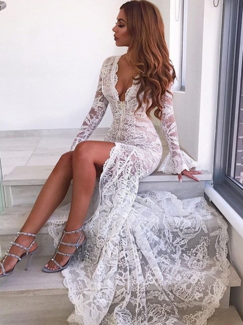 Sexy Deep V-Neck Lace Wedding Dresses | Long Sleeves Sheer Mermaid Evening Dresses