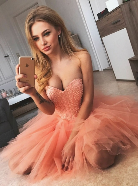 Sexy A-Line Tulle Homecoming Dresses | Sweetheart Sleeveless Beading Mini Cocktail Dresses