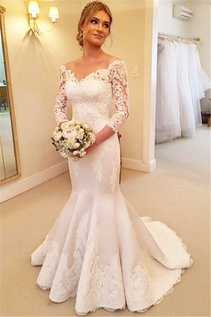 Lace Appliques Off-the-Shoulder Mermaid Wedding Dresses with 3/4 Sleevesless