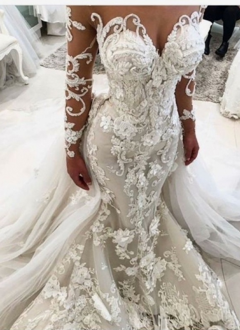 Luxury Floral Appliques Fit and Flare Wedding Dresses | Long Sleeves Bridal Gowns with Detachable Train
