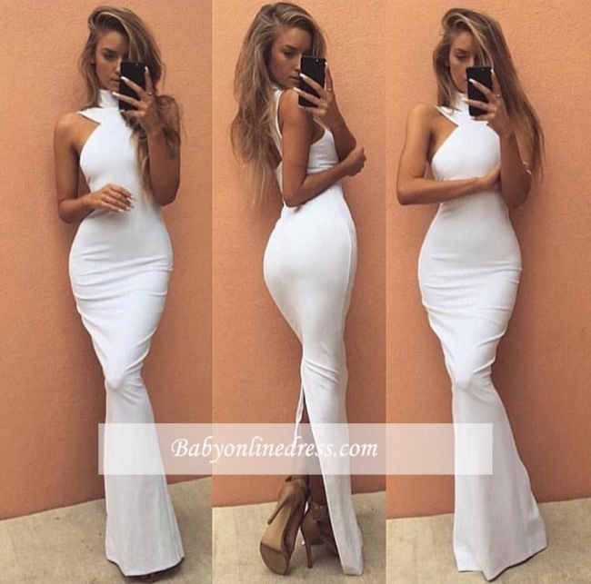 Sexy White Long High-Neck Evening Gowns Sleeveless Prom Dress