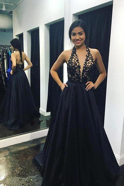 Sexy Deep V-Neck Prom Dress | Halter Backless A-line Evening Dresses