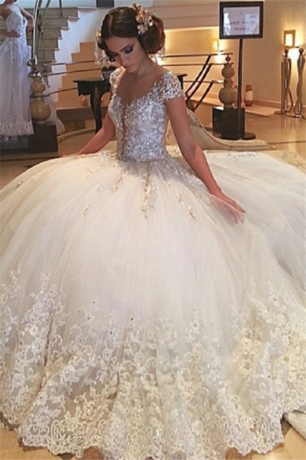 Cap-Sleeves Tulle Beaded Ball Gown Crystals Lace Gorgeous Wedding Gowns