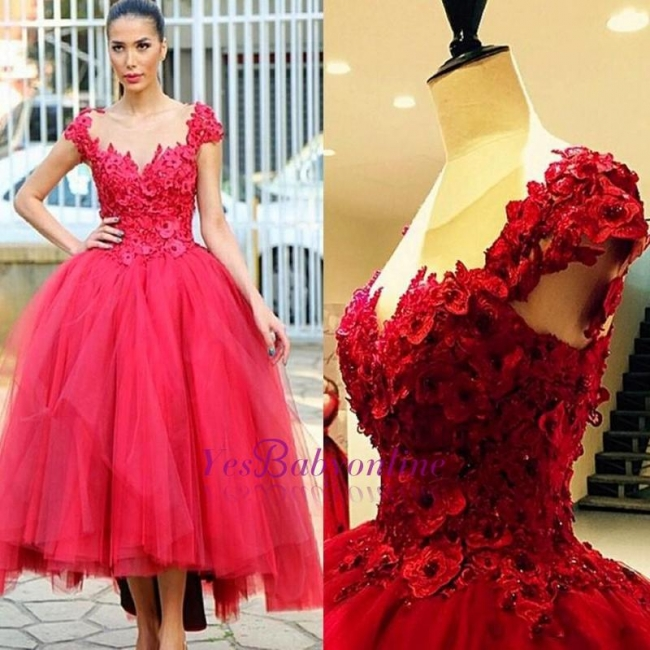 Ball-Gown Hi-lo Cap-Sleeves Flowers Prom Dress Tired Pearls Evening Gowns