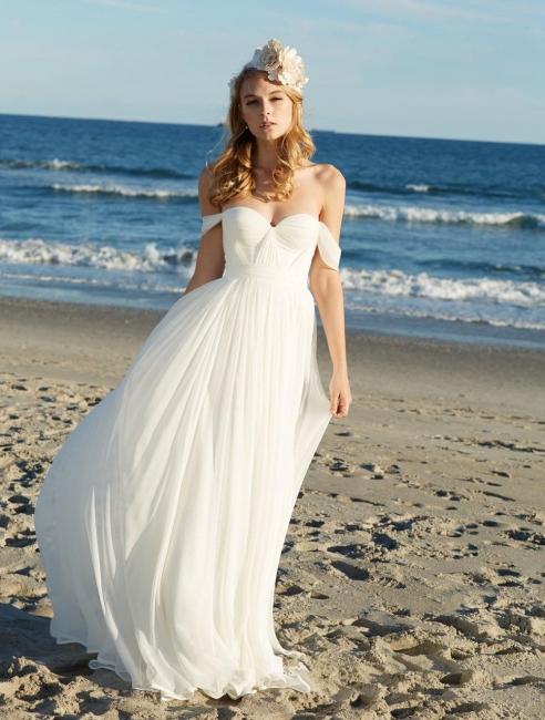 Sexy Long Chiffon Summer Beach Wedding Dresses Sheath off-the-shoulder Sweetheart