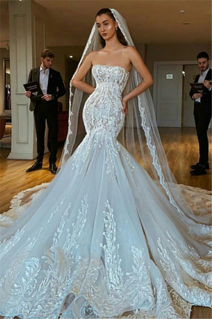 Charming Strapless Lace Up Back Lace Fit And Flare Mermaid Wedding Dress
