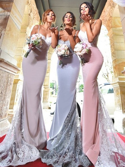 Sexy Mermaid Bridesmaid Dresses | Spaghetti Straps Lace Appliques Long Prom Dresses
