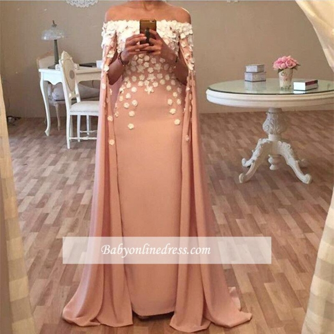 Flowers Appliques Designer Floor-Length Long Glamorous Prom Dress