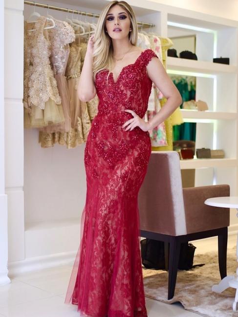 Glamorous Sleeves Mermaid Cap V-Neck Beading Lace Prom Dresses