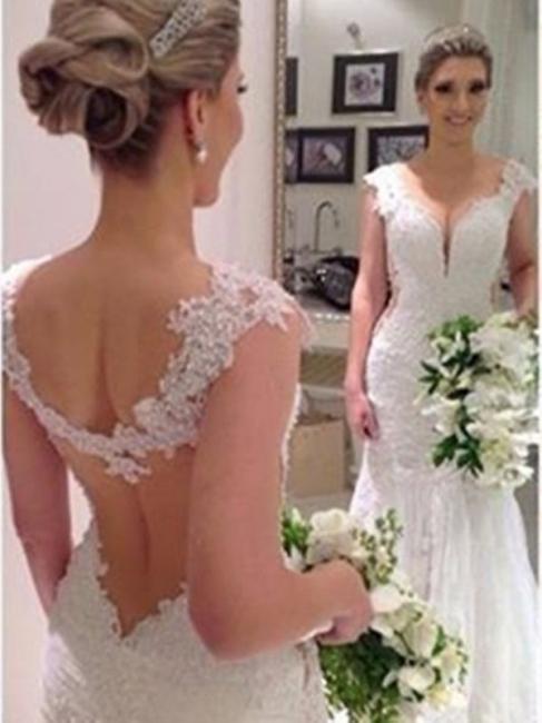 Sheath-Column Backless Sexy Sleeveless Straps Lace Wedding Dress