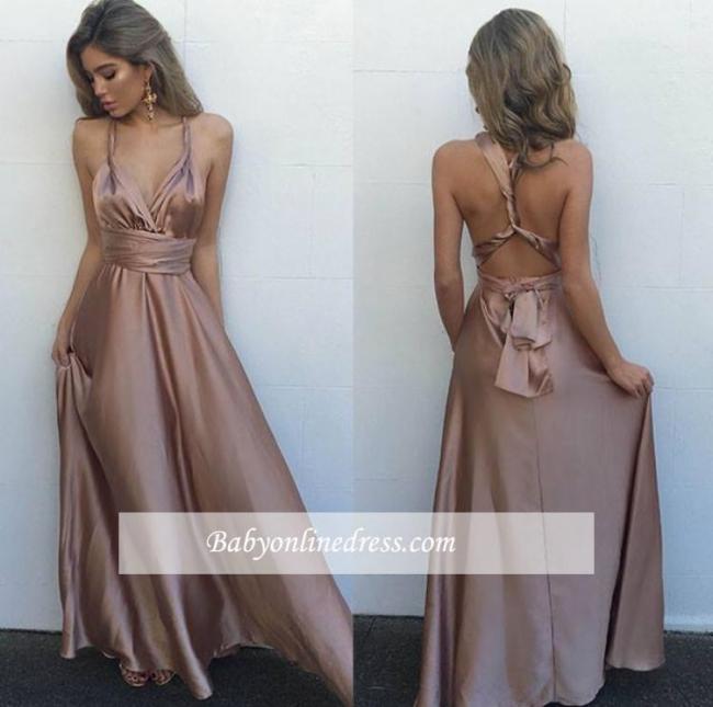 Gorgeous Long Sleeveless Prom Dress V-Neck Floor-Length Evening Gowns