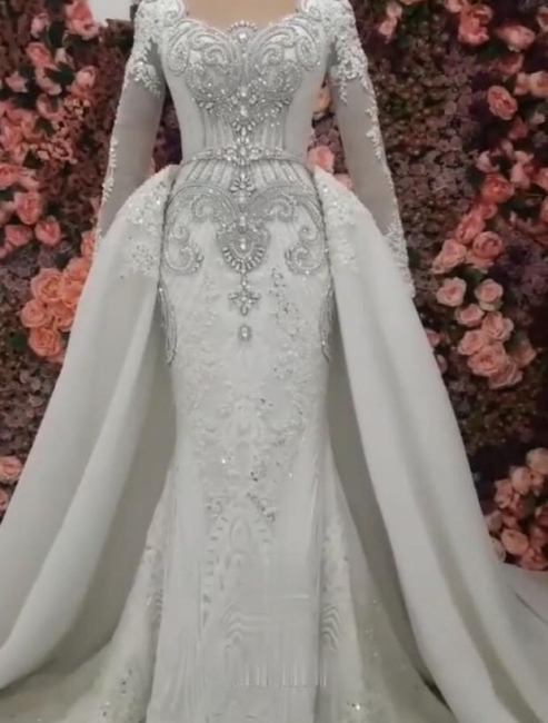 Mermaid Detachable Train Wedding Dresses | Luxury Crystal Bridal Gowns with Sleeves