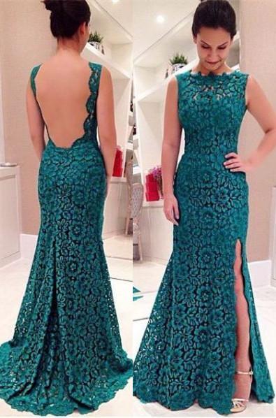 Front-Split Modest Lace Sweep-Train Sleeveless Prom Dress