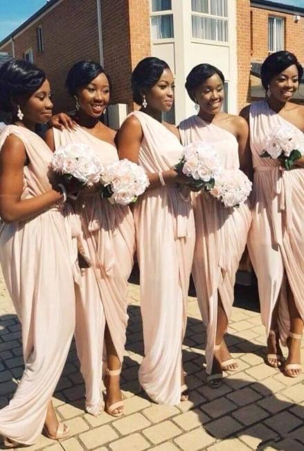 Elegant Long A-line One-Shoulder Sleeveless Front-Split Bridesmaid Dress