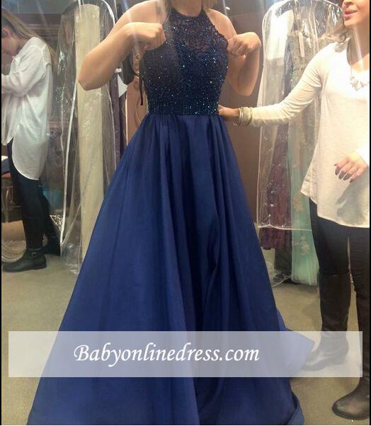 New Arrival Ruffles Dark Navy Blue Party Gowns Halter-Neck A-line Beading Prom Dresses BA5205