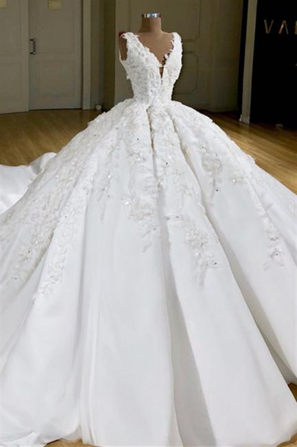 Princess Straps V Neck Applique Ruffles Ball Gown Wedding Dress