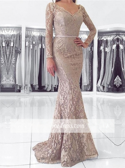Evening Lace Dresses With Long Floor Length Fashion Sleeves Party Gowns