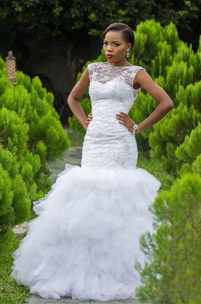 Jewel Sleeveless Mermaid Wedding Dresses with Tiered Tulle Train