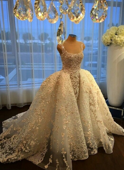 Gorgeous Ball Gown Wedding Dresses Lace Appliques Bridal Gowns with Overskirt