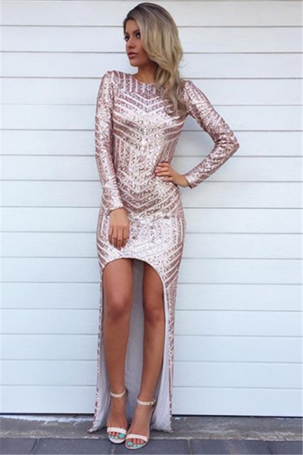 Alluring Glitter Long High Low Evening Dresses | Sequins Asymmetric Long Sleeve Prom Dress