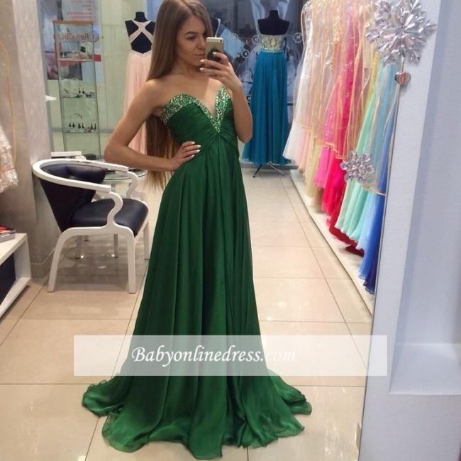 Elegant Sweetheart Beading Prom Dresses A-line Green Chiffon Evening Dresses