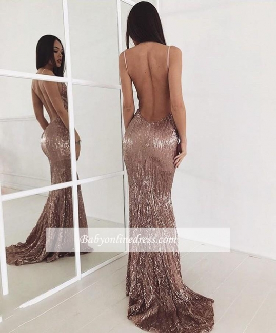Sweep-train Sequin New-arrival Sexy Beading Backless Prom Dress