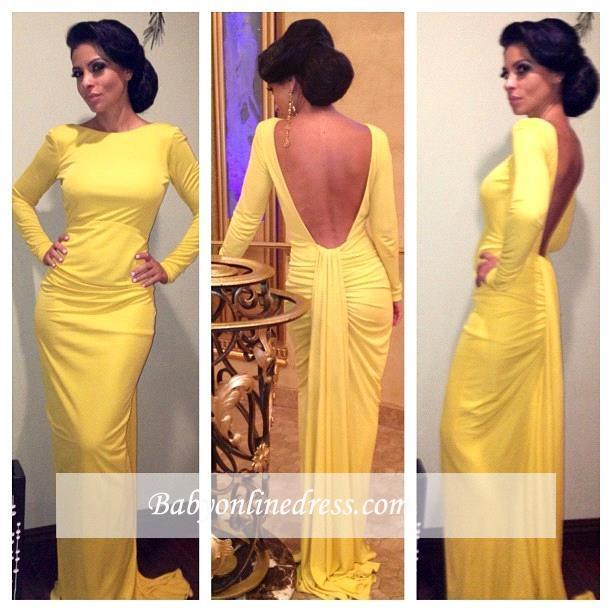 2018 Yellow Long Sleeves Sheath Open Back Ruched Evening Dress