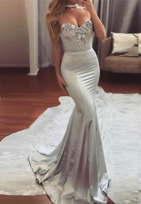Shiny Mermaid Beading Prom Dresses Silver Sweetheart Neck Long Belt Ruffles Evening Dresses