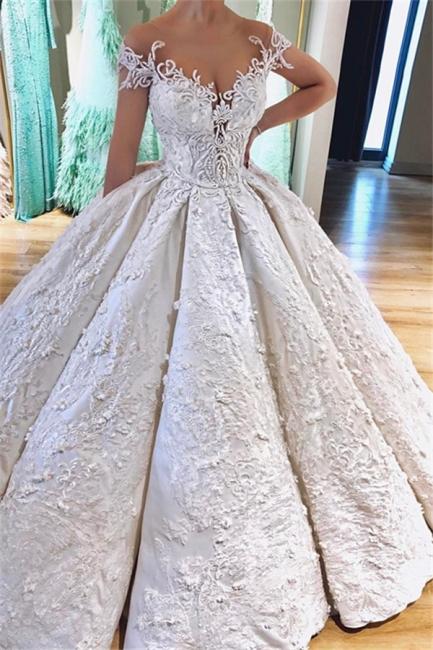 Ball Gown Princess Off the Shoulder Lace Appliques Wedding Dresses