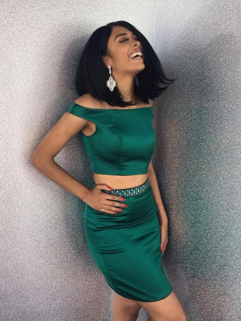 Simple Two Pieces Sheath Homecoming Dresses | Off-The-Shoulder Mini Cocktail Dresses