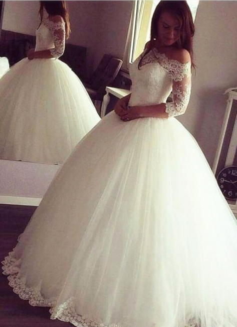 Vintage Ball Gown Wedding Dresses | Off-the-Shoulder Long Sleeves Bridal Gowns