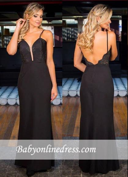 2018 Sexy Simple Black Open-Back Appliques Spaghetti-Straps Prom Dress