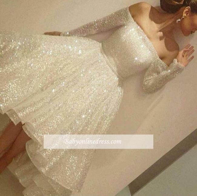 Short Bling Off-the-Shoulder Long-Sleeves Tiers-Skirt Bling Prom Dresses