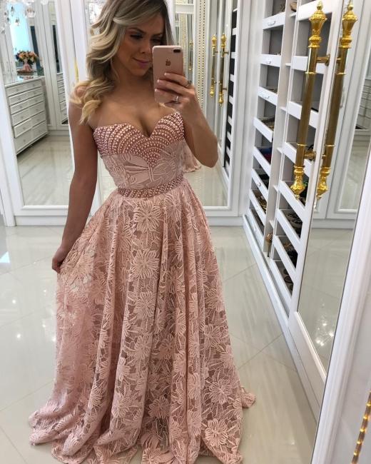 Sheath Sweetheart Pink Long Elegant Lace Prom Dresses