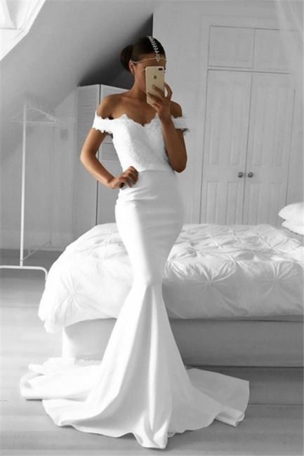 2018 Lace Off-the-Shoulder Elegant Mermaid Prom Dresses