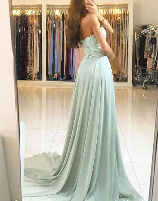 Elegant A-Line Prom Dresses | Sweetheart Lace Appliques Chiffon Evening Dresses