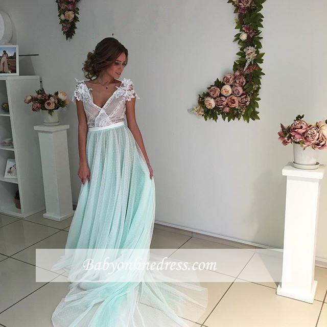 Capped-Sleeves Floral V-Neck Fairy Long Appliques Evening Gowns