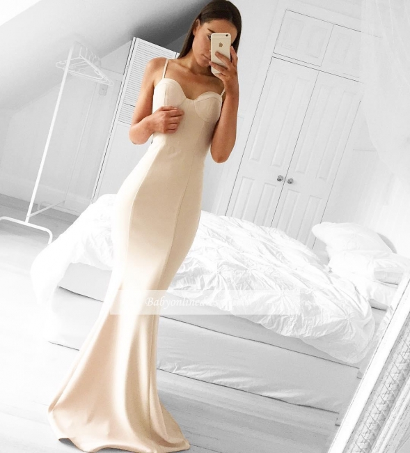 Alluring Mermaid Long Sleeveless Prom Dresses Spaghetti Strap Evening Gowns
