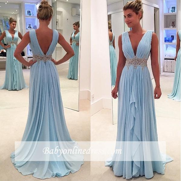 2018 Glamorous V-Neck Blue Appliques Ruffles A-Line Sleeveless Prom Dresses