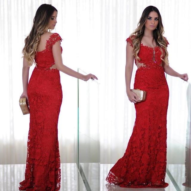 Mermaid Red Lace Long Cap-Sleeves Floor-Length Prom Dress
