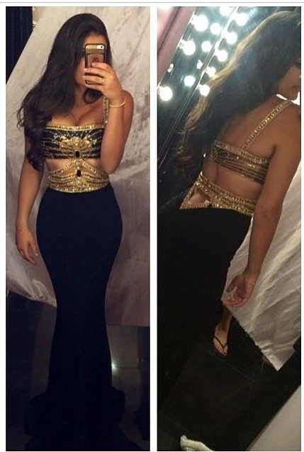 Sexy Mermaid Prom Dresses Straps Beaded Cut Out Gold Black Party Gowns