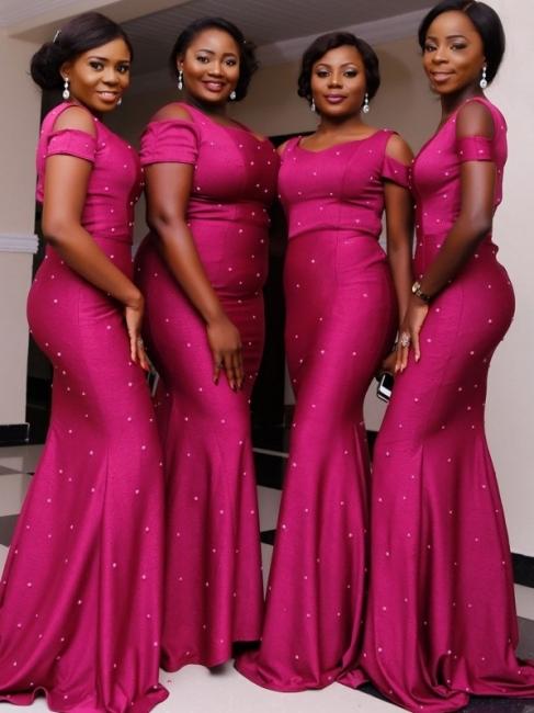 Elegant Cold Shouler Mermaid Bridesmaid Dresses | Simple Beaded Long Evening Dresses