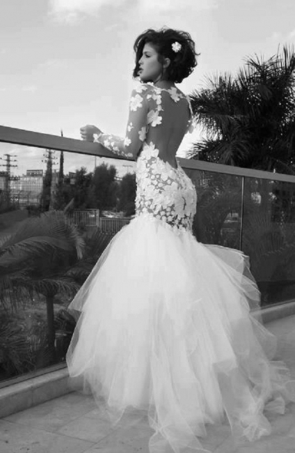 Backless Lace Mermaid Beach Wedding Dresses | Long Sleeves Tulle Train Wedding Gowns